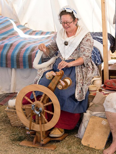 Sutler at Spinning Wheel