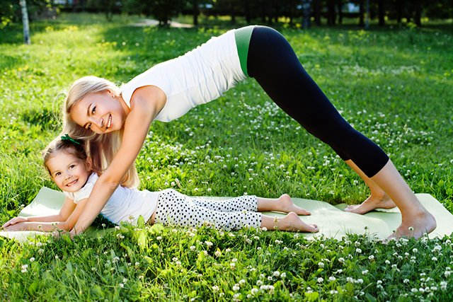 Yoga Mom with Daughter