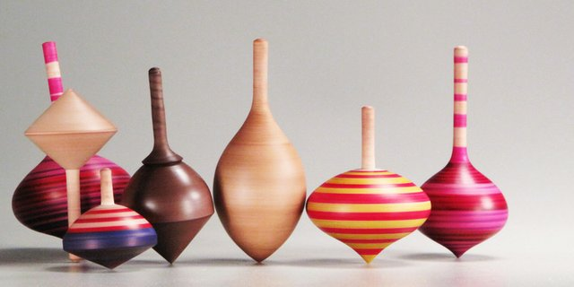 Colorful Wooden Spinning Tops