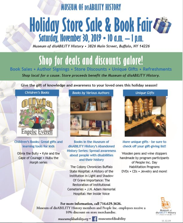 Museum of Disability History Holiday Sale