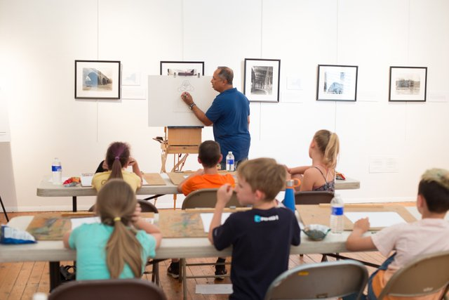 Kids Cartooning class at the Carnegie Art Center